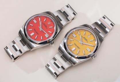 So sánh đồng hồ Rolex Oyster Perpetual 41 màu đỏ san hô với mặt số màu vàng
