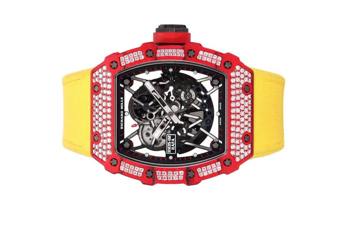 Đồng hồ Richard Mille RM 35-02 Automatic Winding Rafael Nadal đỏ đính kim cương