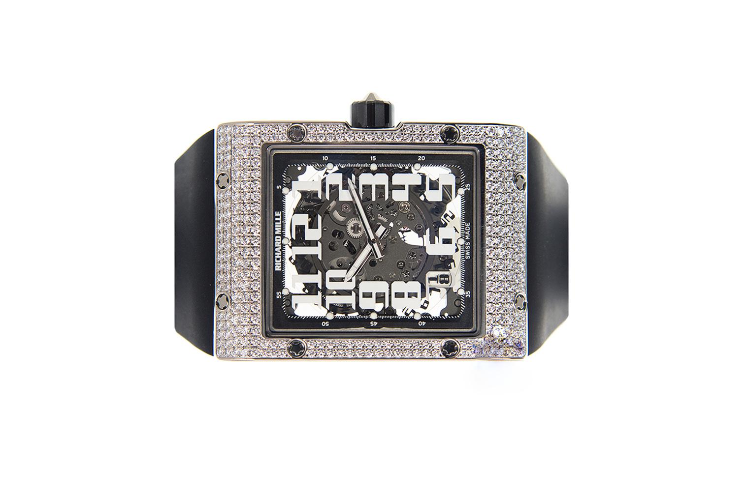 Review đồng hồ Richard Mille RM016-AJ WG vành vàng trắng đính kim cương Arabic