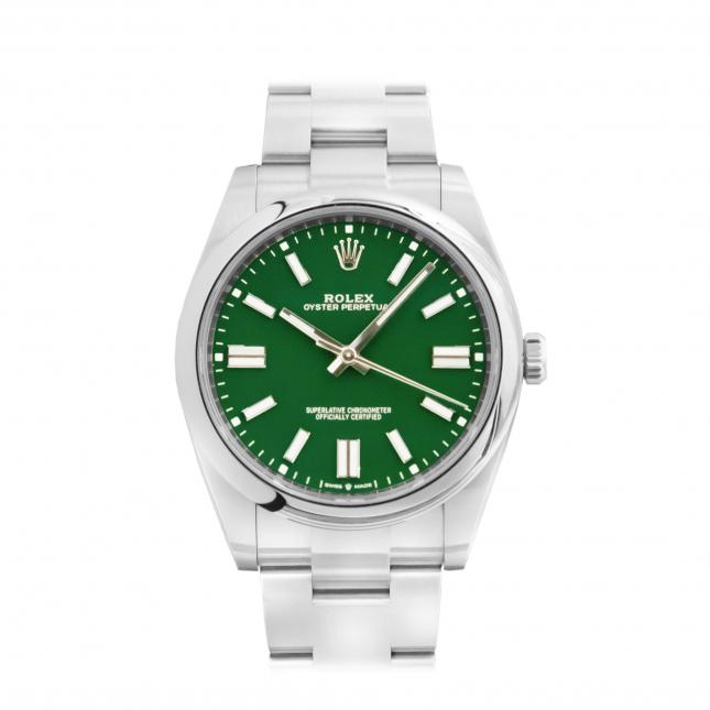 Review đồng hồ Rolex Oyster Perpetual 41 124300 mặt số xanh lá cây