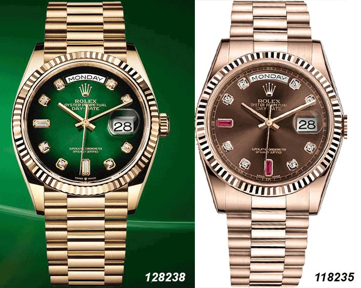 So sánh hai mẫu đồng hồ Rolex Day-Date 118235 và 128238