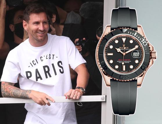 Lionel Messi đeo đồng hồ Rolex Yacht-Master trong ngày đầu tiên ra mắt PSG