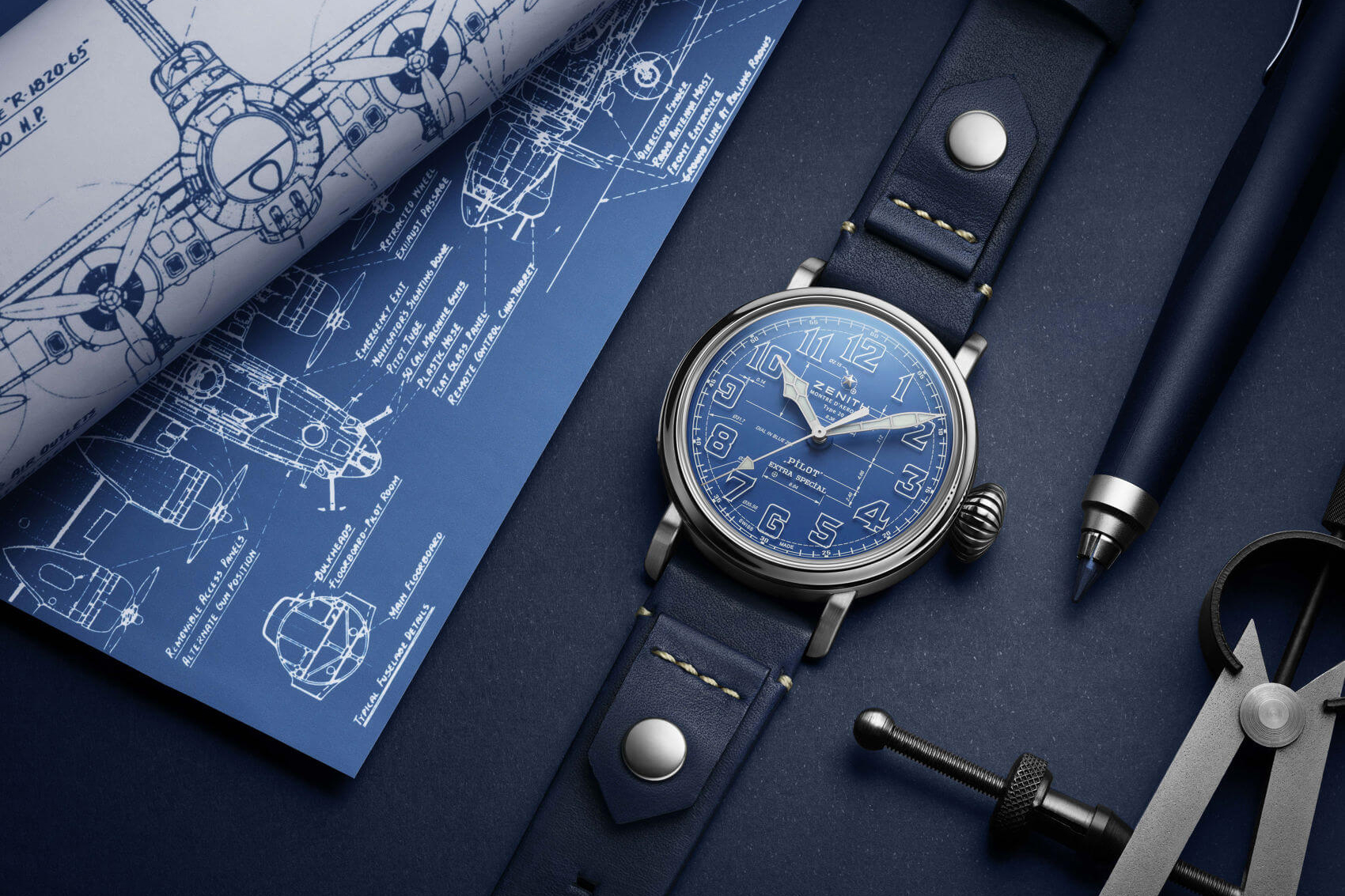 Zenith vừa cho cho ra mắt chiếc đồng Zenith Pilot Type 20 Blueprint với mặt số màu xanh tuyệt đẹp