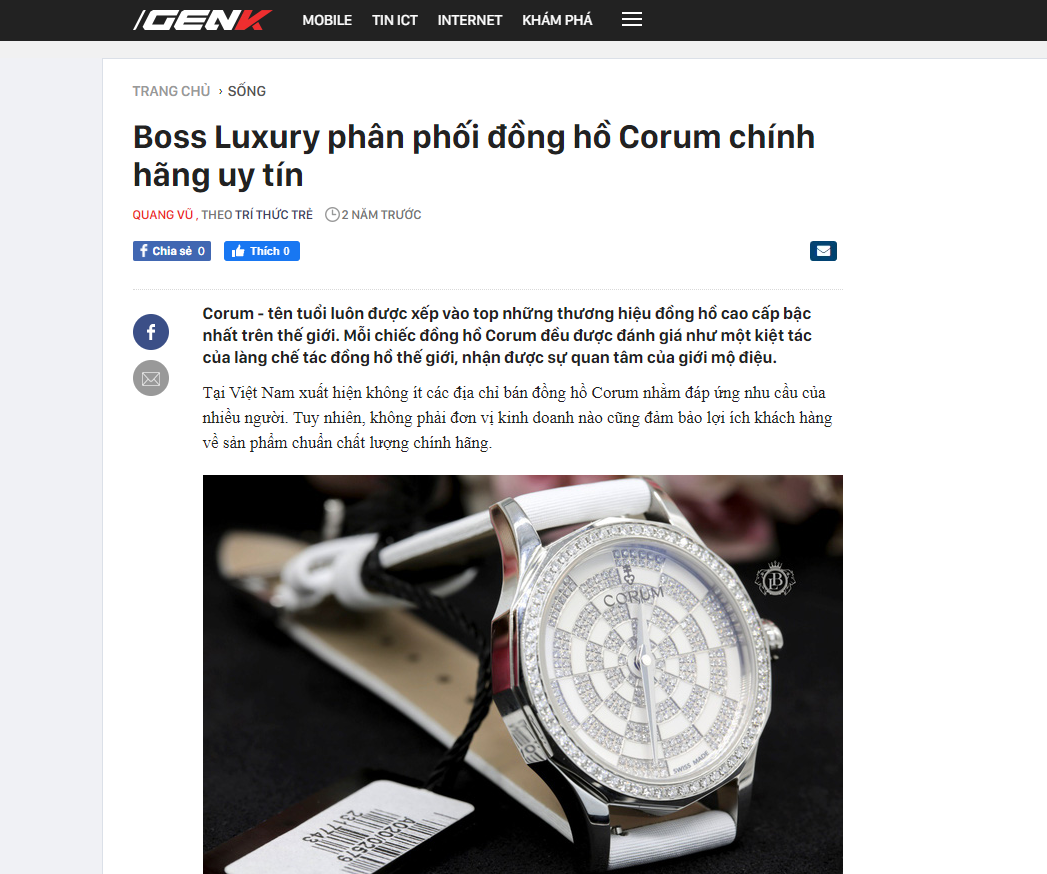 Boss Luxury phân phối đồng hồ Corum chính hãng uy tín