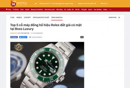 Top 5 cỗ máy đồng hồ hiệu Rolex đắt giá có mặt tại Boss Luxury