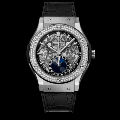 Hublot Classic Fusion Aerofusion Moonphase Titanium Bezel Diamonds 42mm