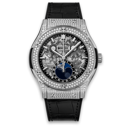 Hublot Classic Fusion Aerofusion Moonphase Titanium pave Diamonds 42mm