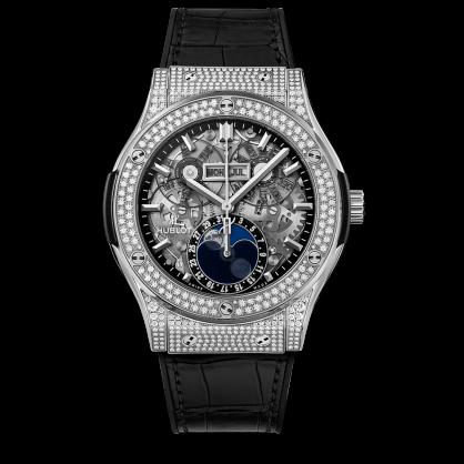 Hublot Classic Fusion Aerofusion Moonphase Titanium pave Diamonds 42mm
