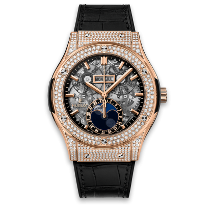 Hublot Classic Fusion Aerofusion Moonphase King Gold Pave Diamonds 45mm