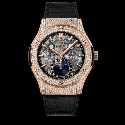 Hublot Classic Fusion Aerofusion Moonphase King Gold Pave Diamonds 45mm