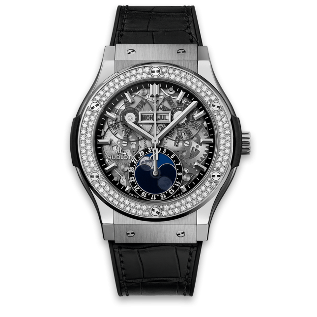 Hublot Classic Fusion Aerofusion Moonphase Titanium Bezel Diamonds 42mm