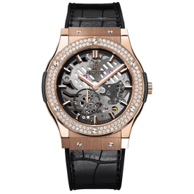 Hublot Classic Fusion Classico Ultra-thin Skeleton King Gold Diamonds 45mm