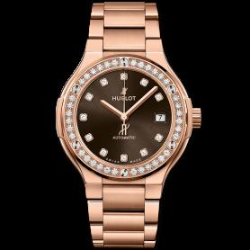 Hublot classic fusion king gold brown diamonds bracelet 38mm