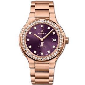 Hublot classic fusion king gold purple diamonds bracelet 38mm