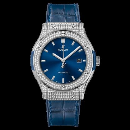 Hublot Classic Fusion Titanium Blue Custom Pave 42mm