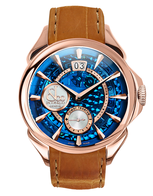 Jacob & Co PALATIAL CLASSIC MANUAL BIG DATE MINERAL CRYSTAL DIAL - ROSE GOLD CASE