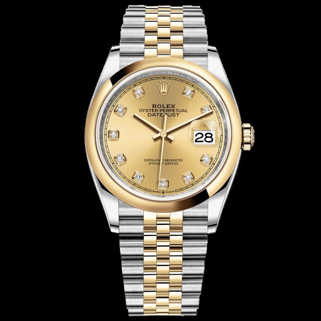 Rolex Datejust 36 126203 Mặt Số Vàng Champagne Nạm Kim Cương