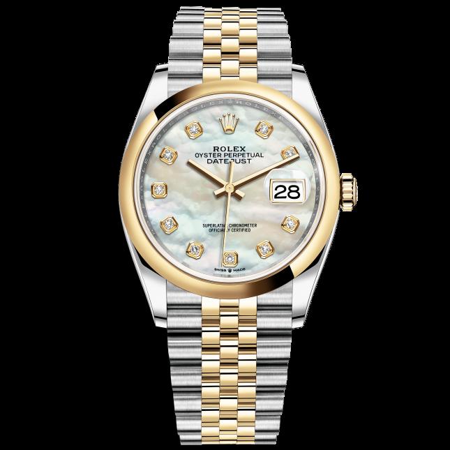 Rolex Datejust 36 126203 Mặt Số Vỏ Trai Trắng