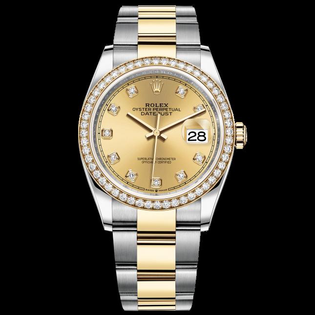 Rolex Datejust 36 126283RBR Mặt Số Vàng Champaigne Nạm Kim Cương Dây Đeo Oyster