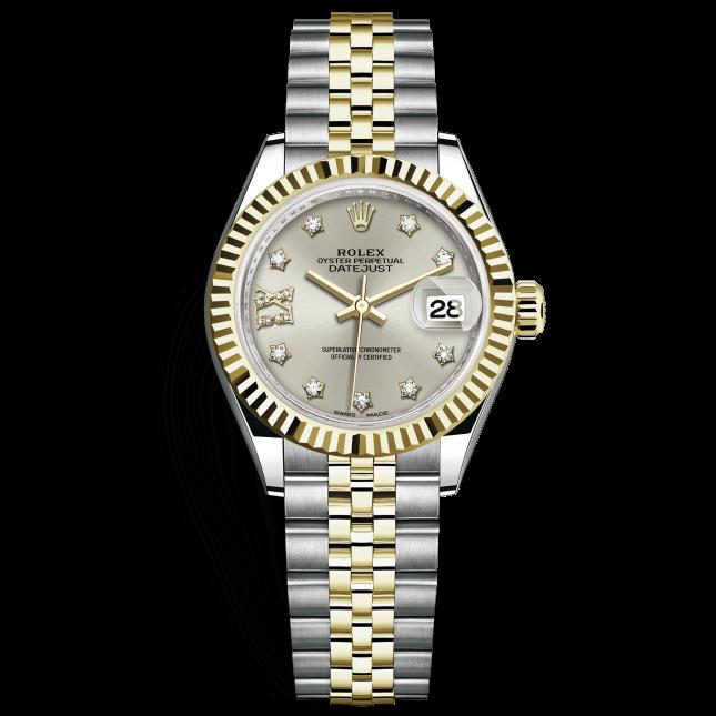 Rolex Lady-Datejust 28 279173 Mặt Số Bạc Nạm Kim Cương Cọc Số La Mã 9 Giờ