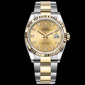 Rolex Datejust 36 126233 Mặt Số Vàng Champagne Nạm Kim Cương Dây Đeo Oyster