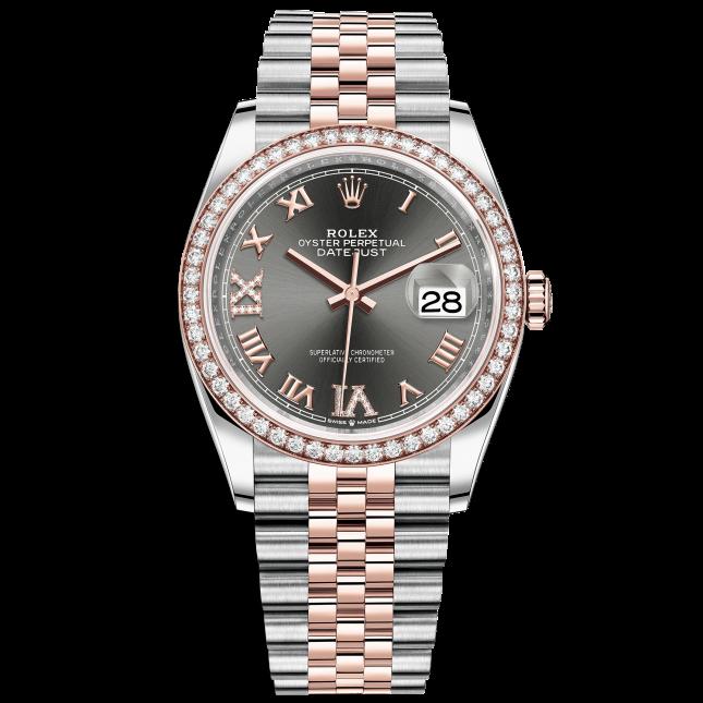 Rolex Datejust 36 126281RBR Mặt Số Rhodium Tối Cọc Số La Mã