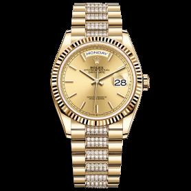 Rolex Day-Date 36 128238 Mặt Số Vàng Champagne Dây Đeo President Nạm Kim Cương