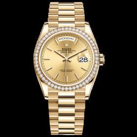 Rolex Day-Date 36 128348RBR Mặt Số Vàng Champagne
