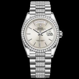 Rolex Day-Date 36 128349RBR Mặt Số Bạc Dây Đeo President Nạm Kim Cương