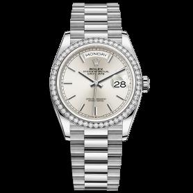 Rolex Day-Date 36 128349RBR Mặt Số Bạc