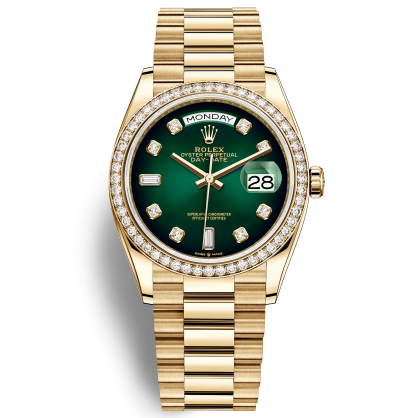 Rolex Day-Date 36 128348RBR Mặt Số Ombre Xanh Lá
