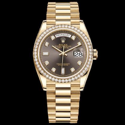 Rolex Day-Date 36 128348RBR Mặt Số Xám Nạm Kim Cương