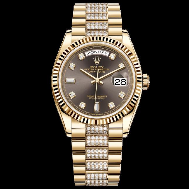 Rolex Day-Date 36 128238-0024 Mặt Số Xám Tối Và Dây Đeo President Nạm Kim Cương