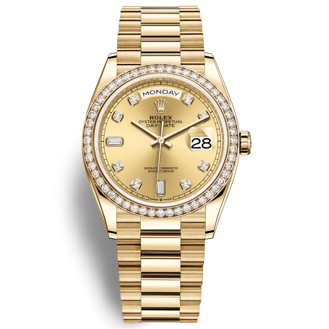 Rolex Day-Date 36 128348RBR Mặt Số Vàng Champagne Nạm Kim Cương