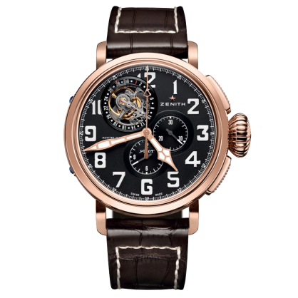 ZENITH Pilot Montre D'Aeronef Type 20 Tourbillon Chronograph Rose Gold 48mm